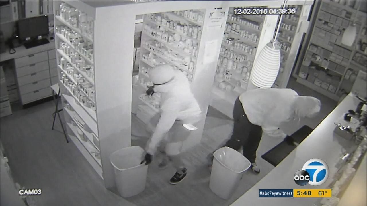 The Cajon pharmacy in Redlands fell victim to its eighth burglary since last November, and second for the week, despite the security efforts of its owner.