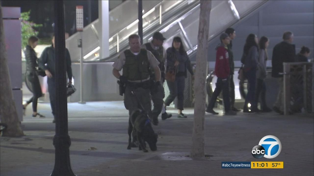 Authorities combed the Universal City Red Line station after a person phoned in a threat on Monday, Dec. 5, 2016.