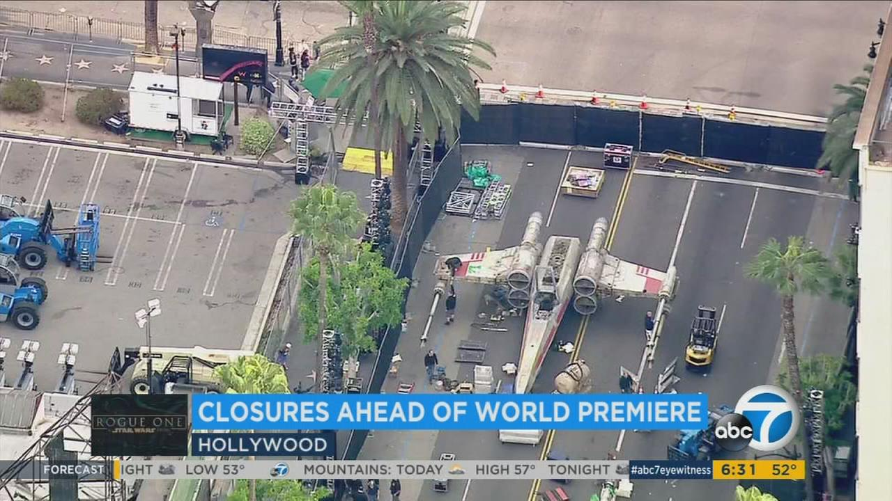 An X-Wing Starfighter was parked on Hollywood Boulevard ahead of the premiere for Rogue One: A Star Wars Story.