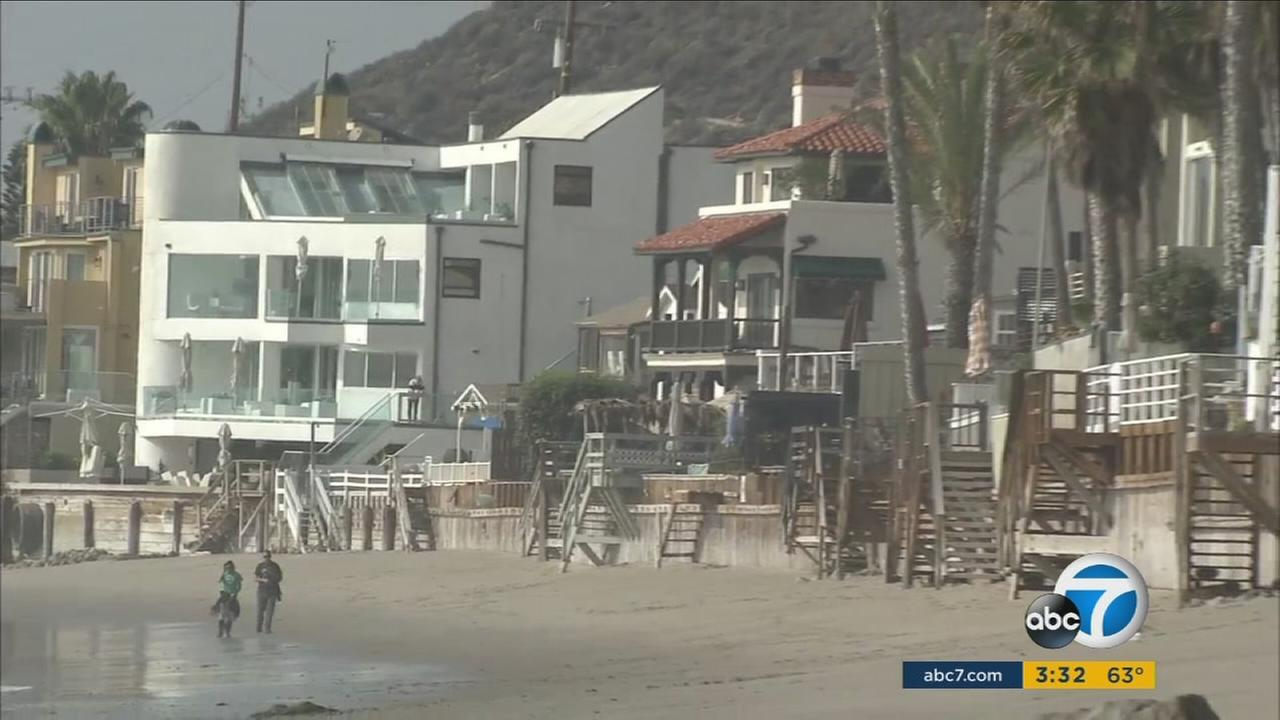 The beach behind homes in Malibu is shown in an undated photo.