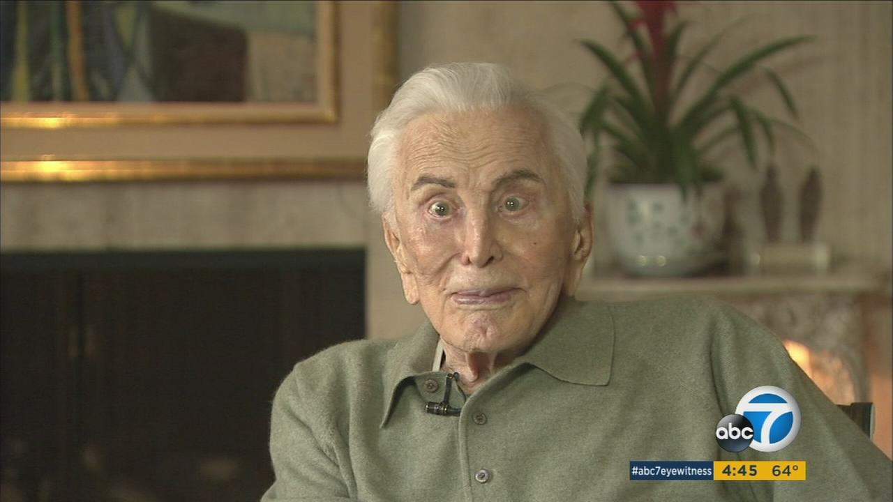 Actor Kirk Douglas reflects on his long career during an interview on Friday, Dec. 9, 2016, which also marked his 100th birthday.