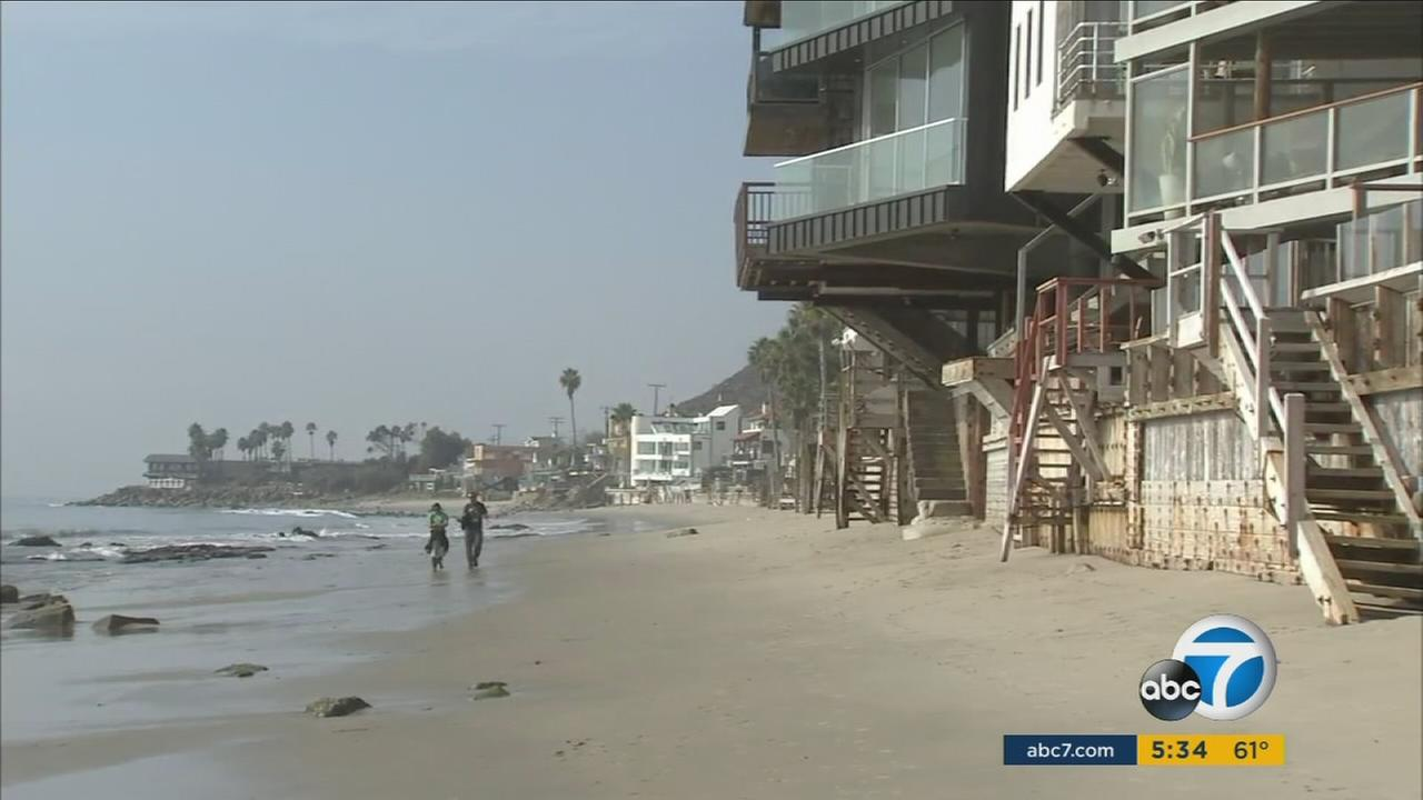 A photo shows the coast and beach-front properties in Malibu on Friday, Dec. 9, 2016.