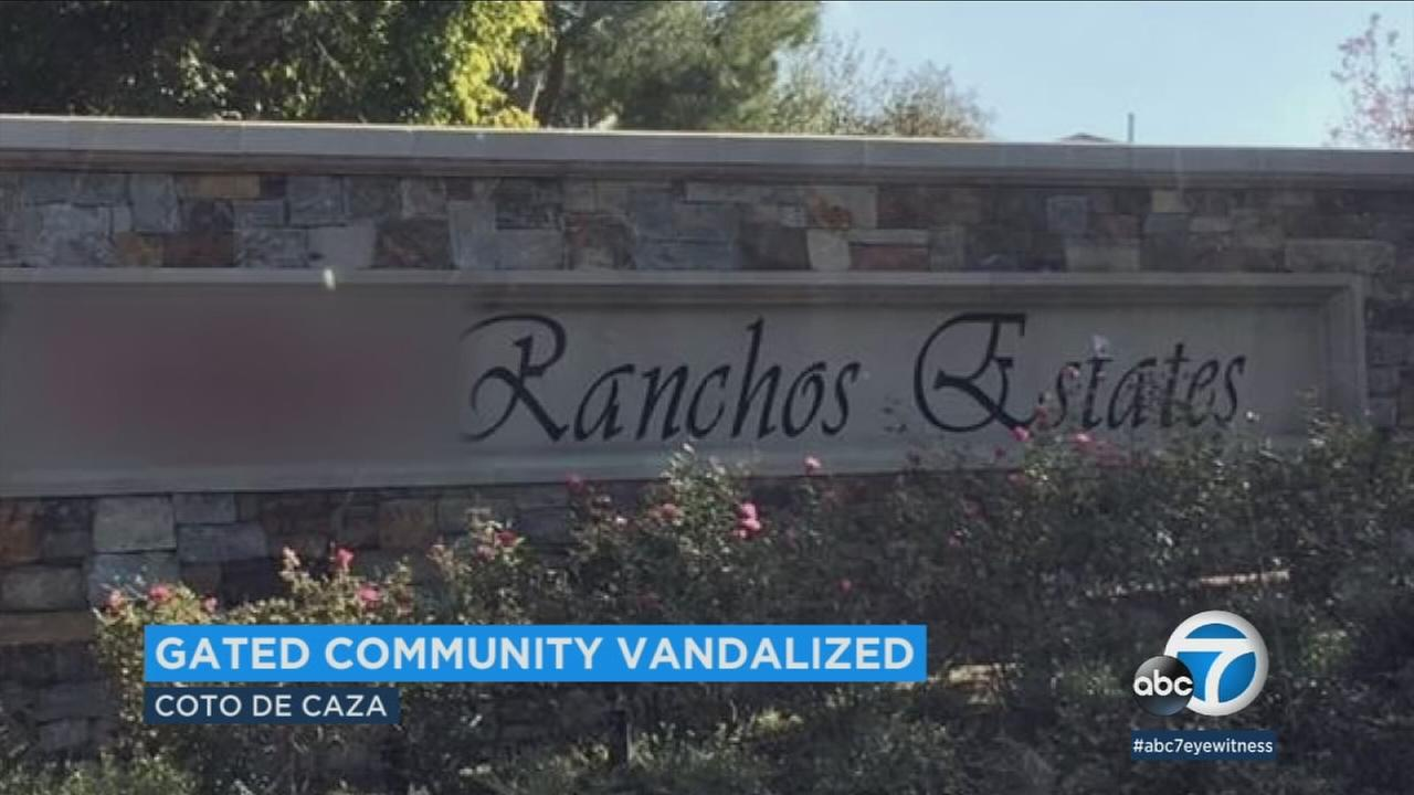 Residents of Coto de Caza were disturbed to find bigoted tags defacing a sign within the affluent neighborhood.