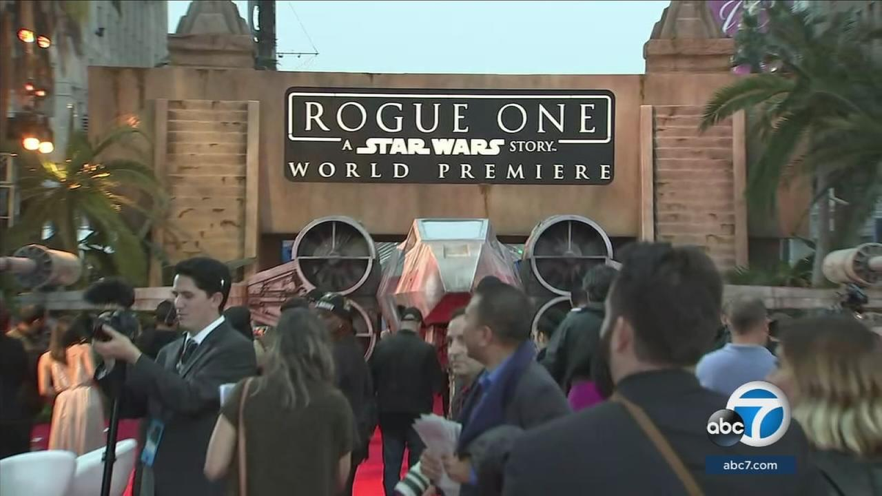 Celebrities and members of the media attend the world premiere of Rogue One: A Star Wars Story in Hollywood on Saturday, Dec. 10, 2016.