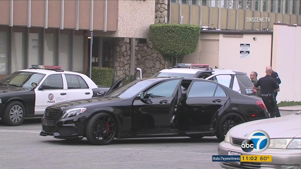 A high-end Mercedes-Benz that was carjacked before a robbery in Sherman Oaks on Saturday, Dec. 10, 2016.