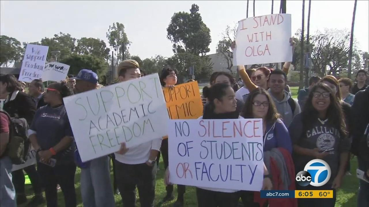 Students show their support for a human sexuality psychology professor who is accused of going on an anti-Trump rant inside her Orange Coast College classroom.