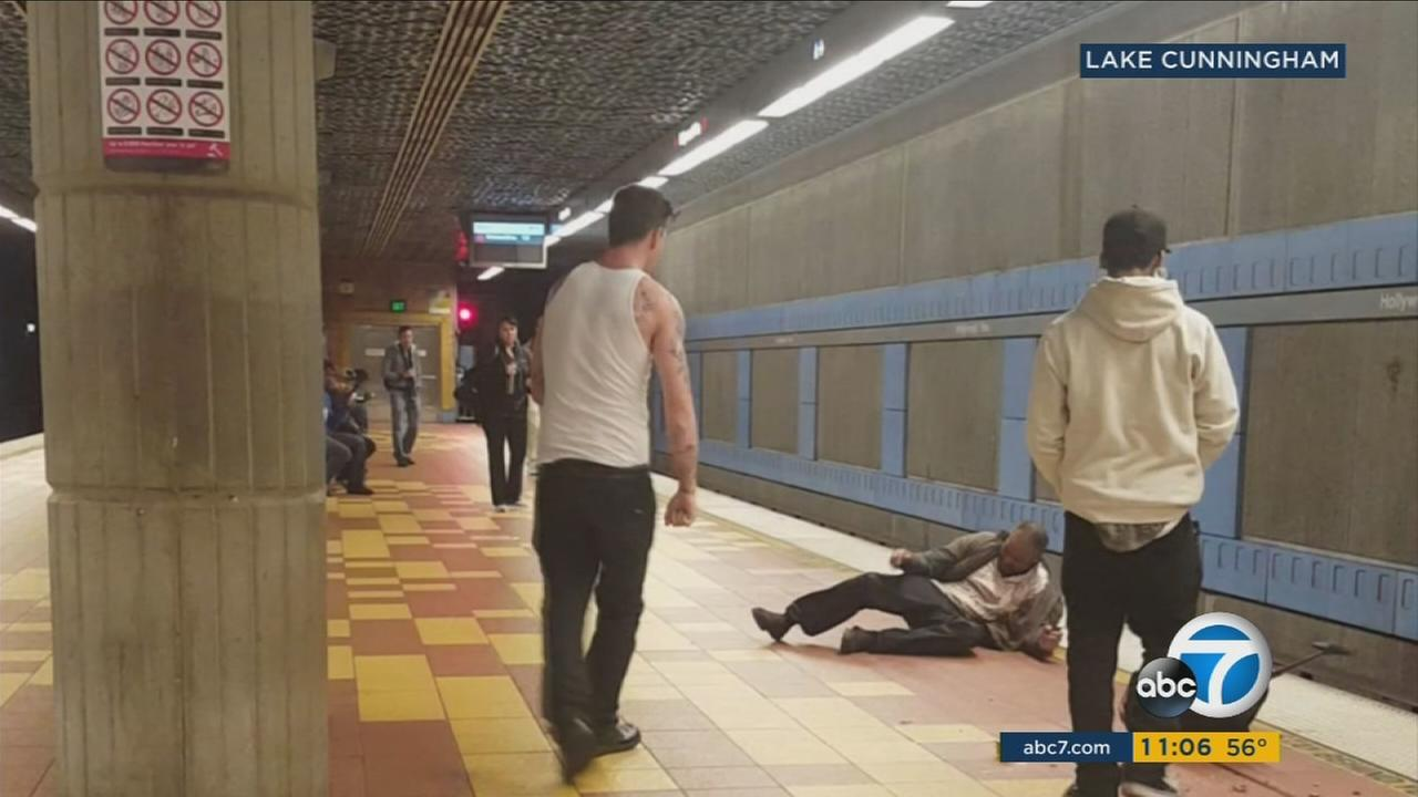A brutal attack on a homeless man at a Metro station in Hollywood was caught on video.