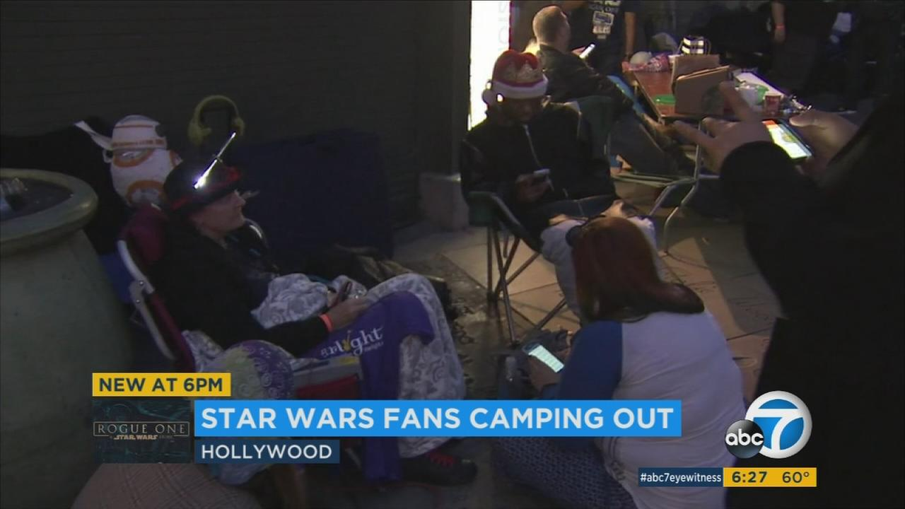 Fans in Hollywood camp out a day ahead of the Rogue One: A Star Wars Story release day.