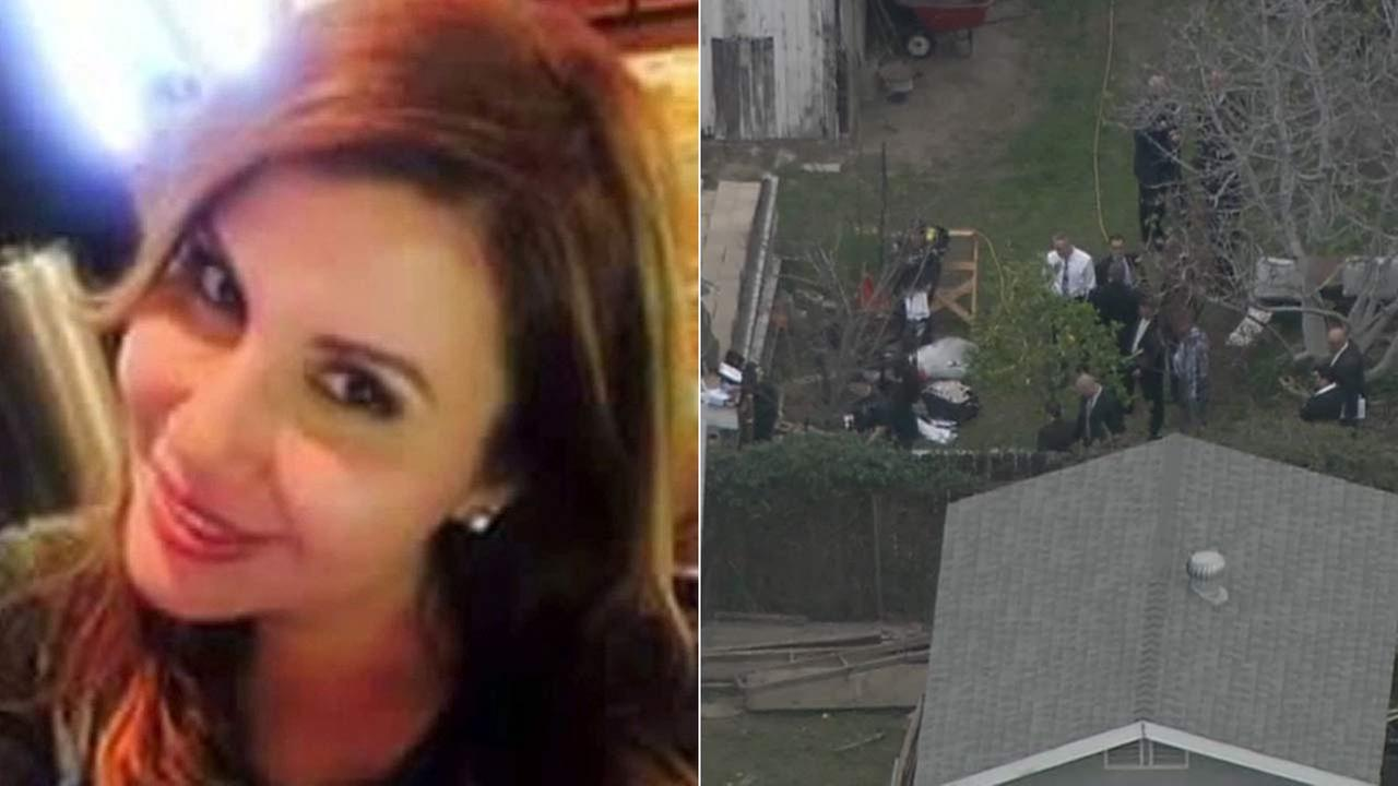 Law enforcement officials are seen at the yard of a Lennox home to search for the body of former reality show contestant Lisa Marie Naegle, left.