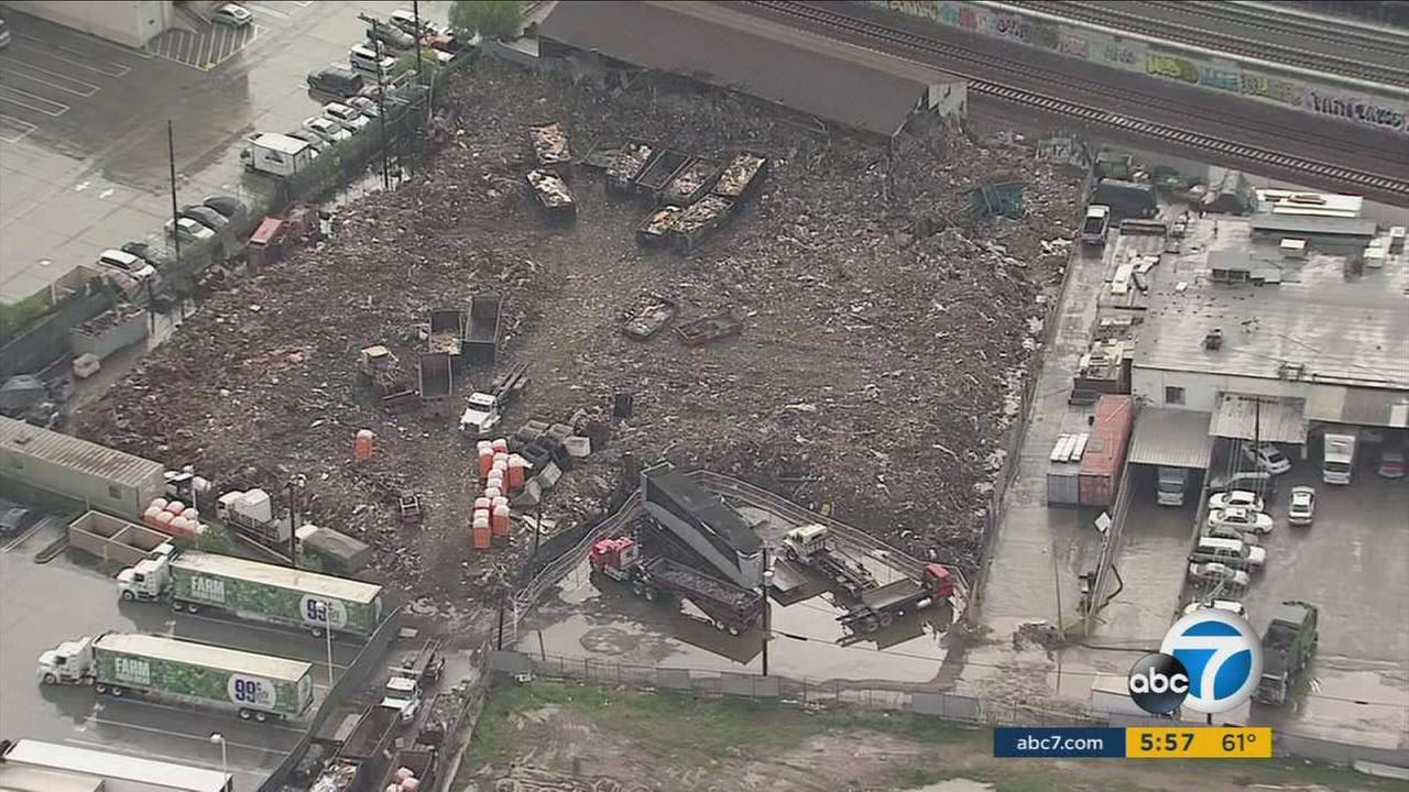 A Boyle Heights recycling center seen with piles of trash in an undated photo.
