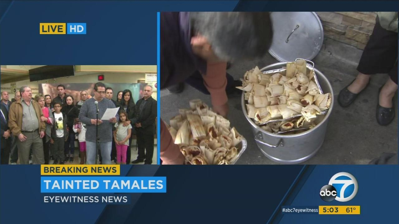 Carlos Galvan Jr., standing with other members of the family that owns Amapola markets, apologized to customers for bad tamales sold at their four locations.