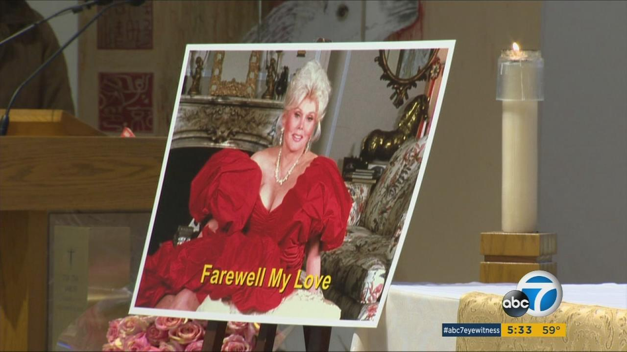 Zsa Zsa Gabor is shown in a photo with the phrase Farewell, my love during her funeral ceremony on Friday, Dec. 30, 2016.