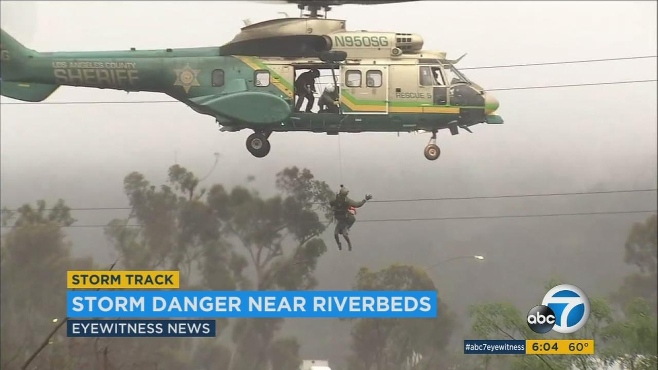 With heavy rain this month, Los Angeles County officials have had to rescue people from rivers and flood channels.