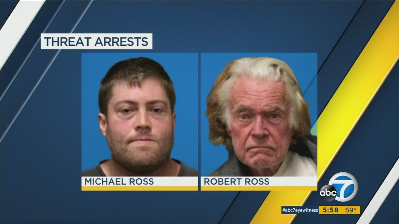 Michael Ross, 33, and his father Robert Mason Ross, 75, are shown in mugshots.