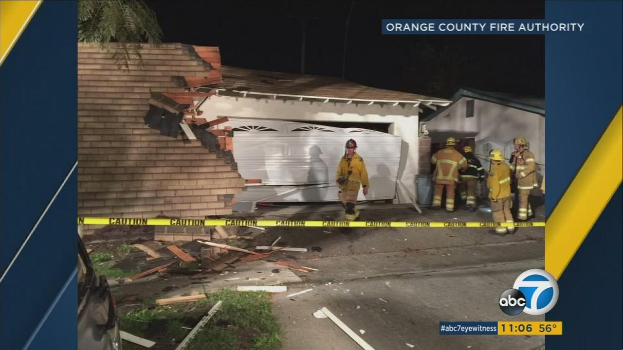 A man was hospitalized Wednesday night after a home exploded in Santa Ana.
