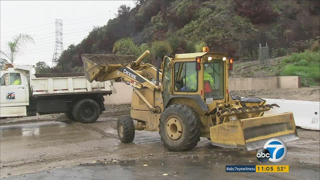 For the third time in less than a week, mud flowed from the charred hillsides above Duarte as winter storms continued to sweep through the area on Thursday.