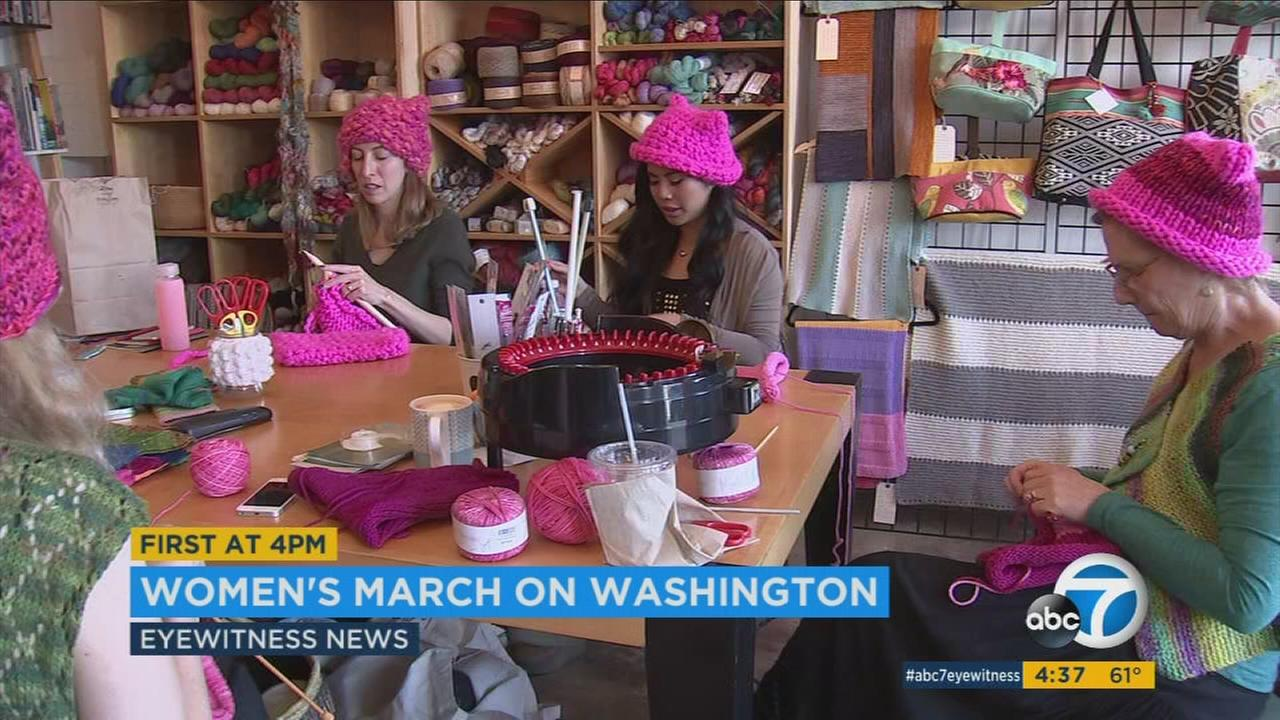 A group of L.A. women are knitting pink hats for participants to wear at the Womens March on Washington on Saturday, Jan. 21, 2017.