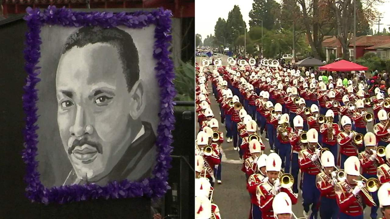 A Kingdom Day Parade float showcases Martin Luther King Jr.s face, left, as a marching band performs along the parade route, right.