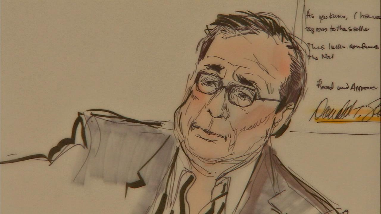 A court drawing of Donald Sterling during testimony on Tuesday, July 8, 2014.