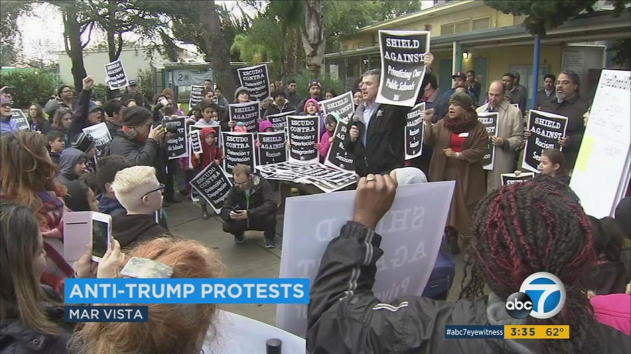 Parents, students and educators across the Los Angeles area are taking part in protests of the incoming Trump administration, with deep concerns about his policies on immigration, charter schools and other issues.