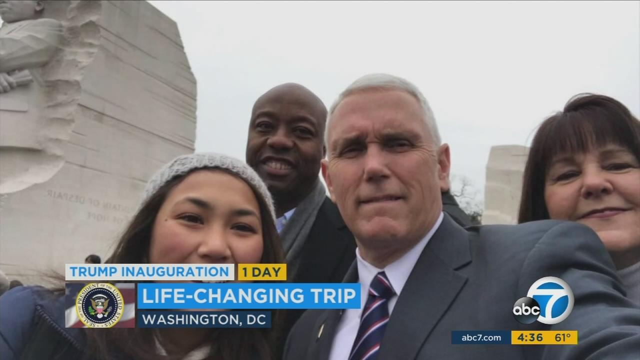 Students from Harvard-Westlake School in LA are visiting Washington D.C. for the inauguration and got to take a selfie with Vice-President elect Mike Pence.