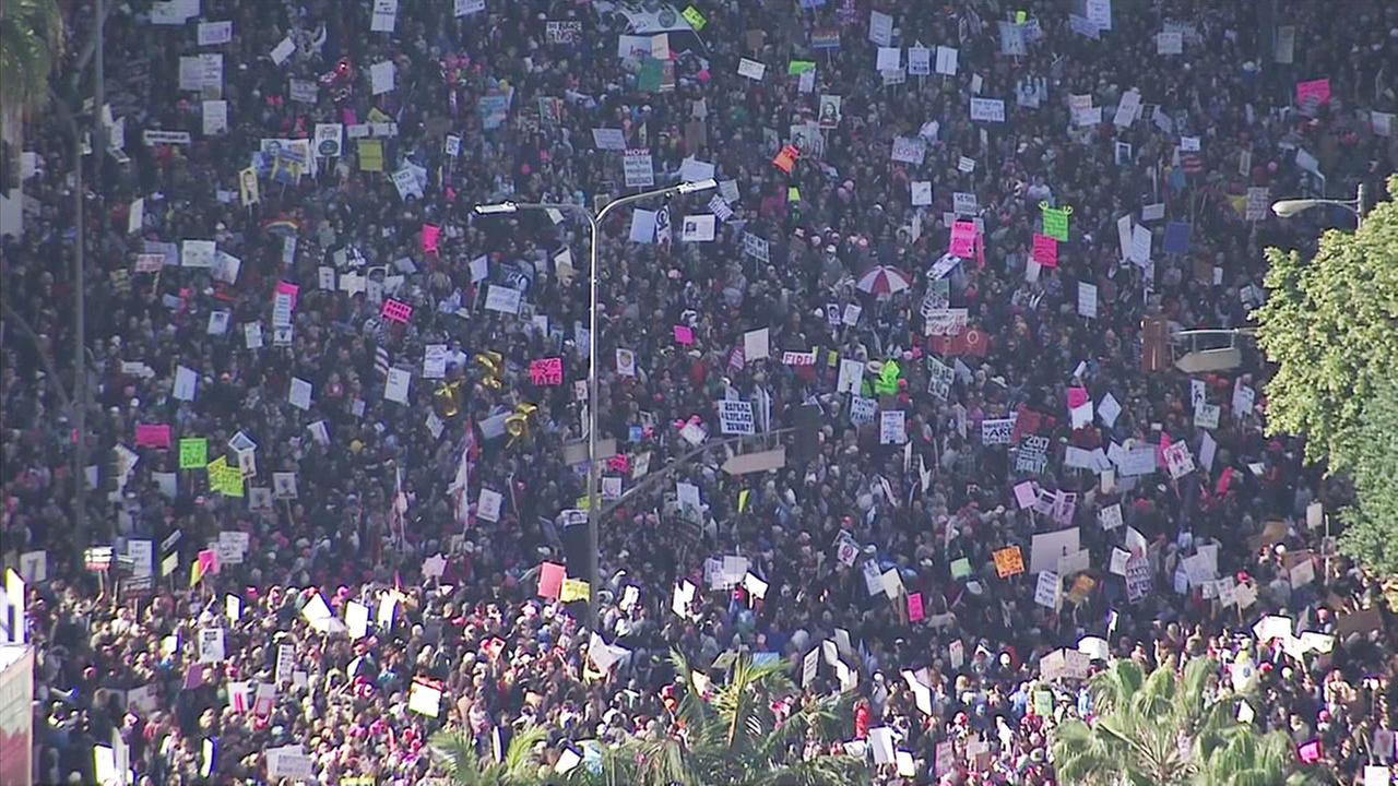 At least 100,000 people gather to rally at the Womens March-Los Angeles in Pershing Square on Saturday, Jan. 21, 2017.