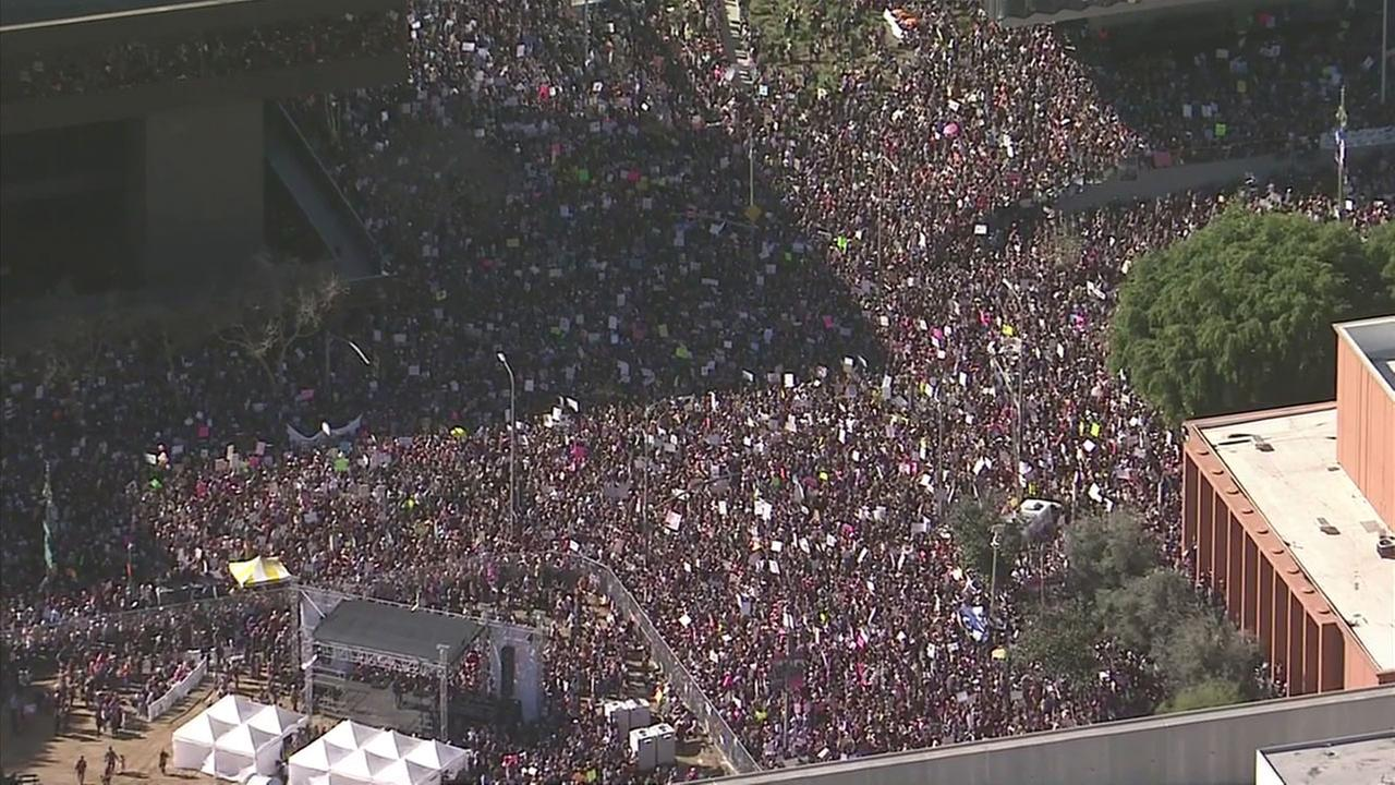 Womens March Los Angeles participants flood Pershing Square in downtown Los Angeles on Saturday, Jan. 21, 2017.