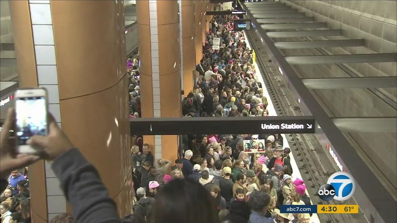 Union Station was closed and other stops were jammed past capacity during and after the Womens March Los Angeles on Saturday.
