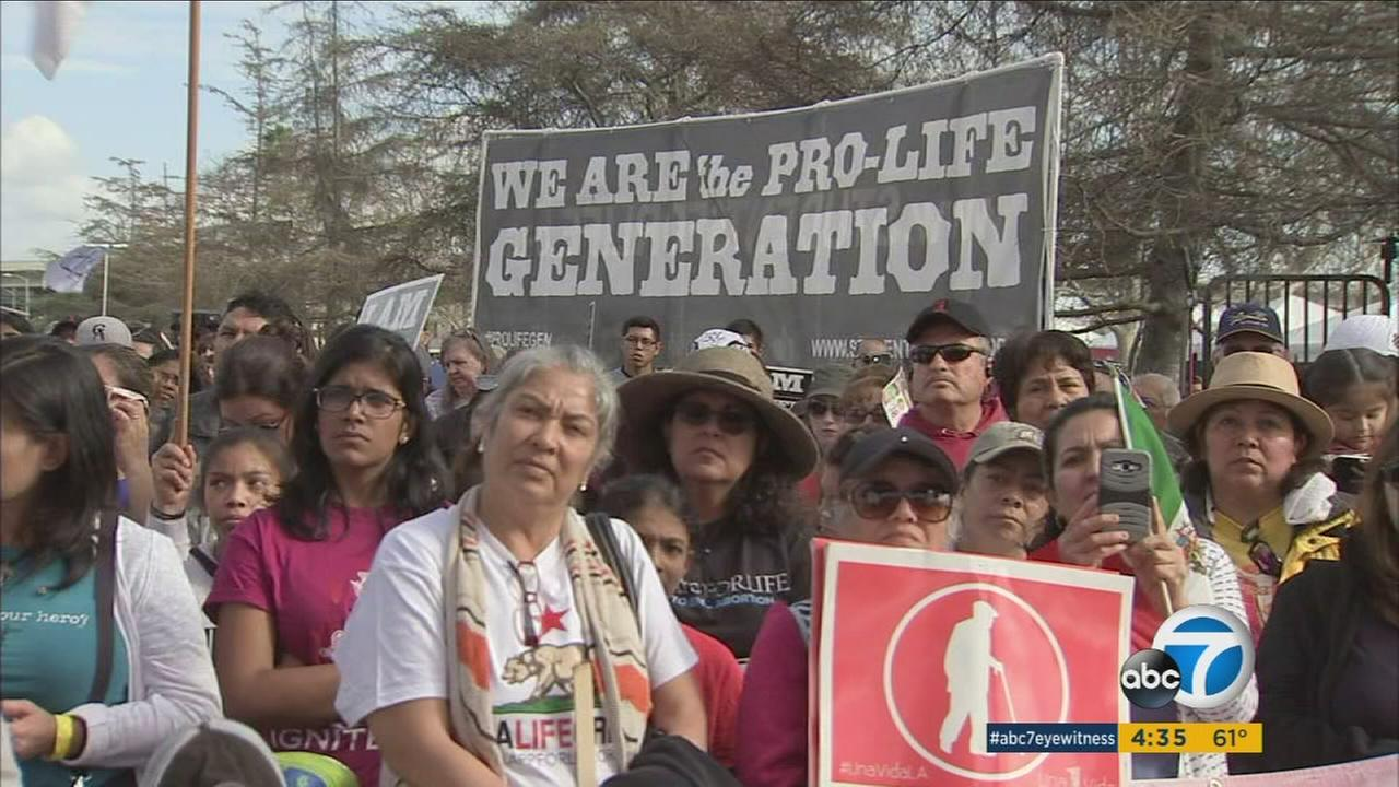 Thousands of people gathered in Exposition Park on Saturday for the third annual One Life LA sponsored by the Archdiocese of Los Angeles.