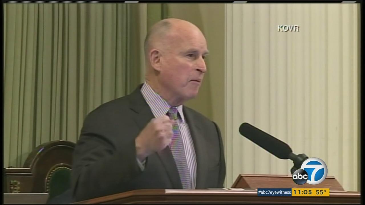 Gov. Jerry Brown delivered an aggressive defense on Tuesday of Californias liberal policies on immigration, health care and climate change during his State of the State address.