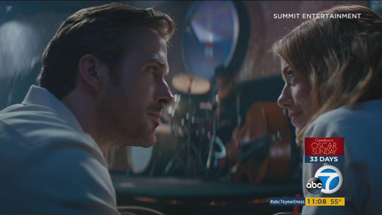 A still image shows a scene from the film, La La Land.