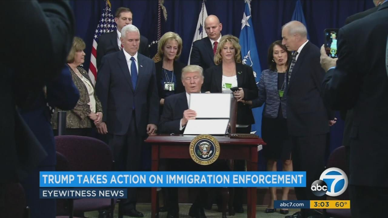 President Donald Trump signed two executive orders toughening policies on immigration and border enforcement on Wednesday, Jan. 25, 2017.