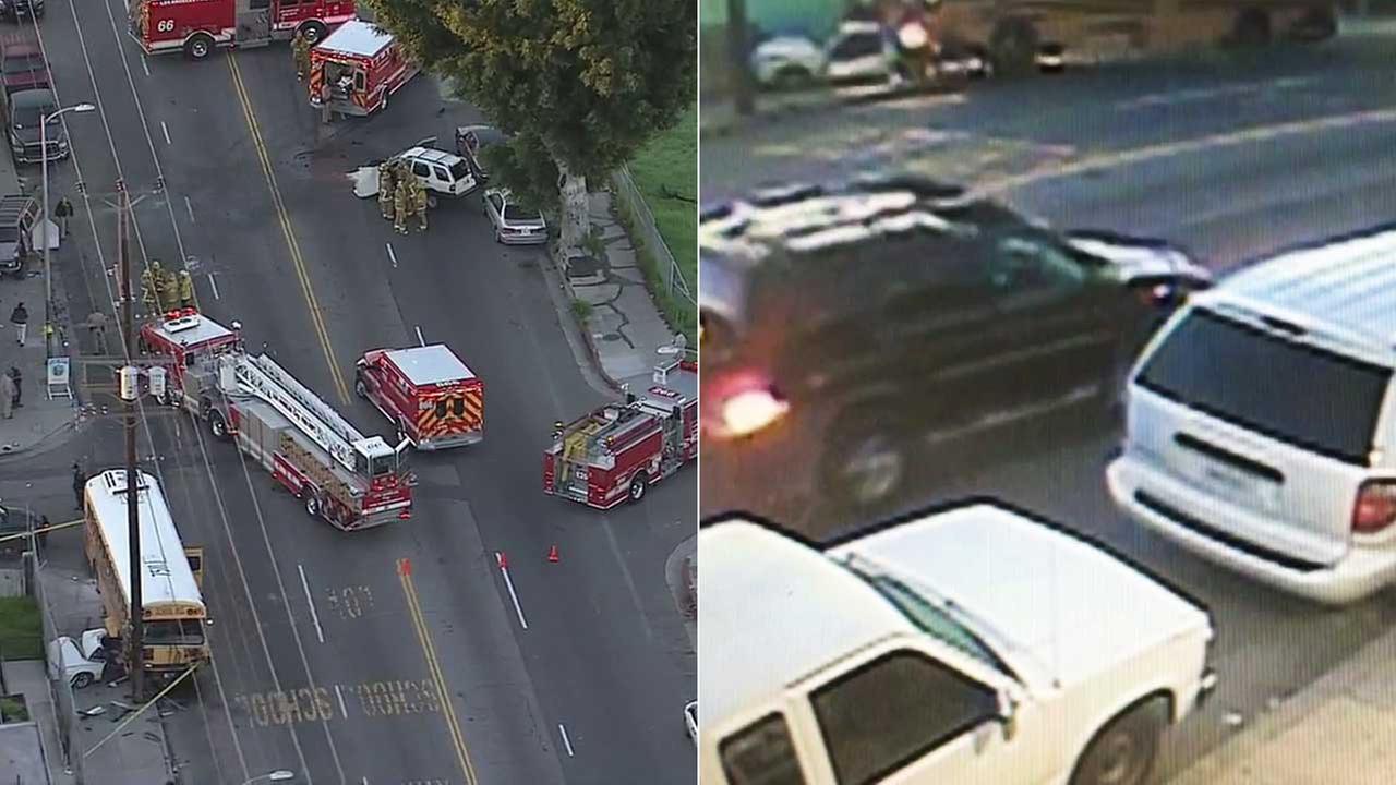 Video captures violent crash involving school bus in South LA | abc7.com