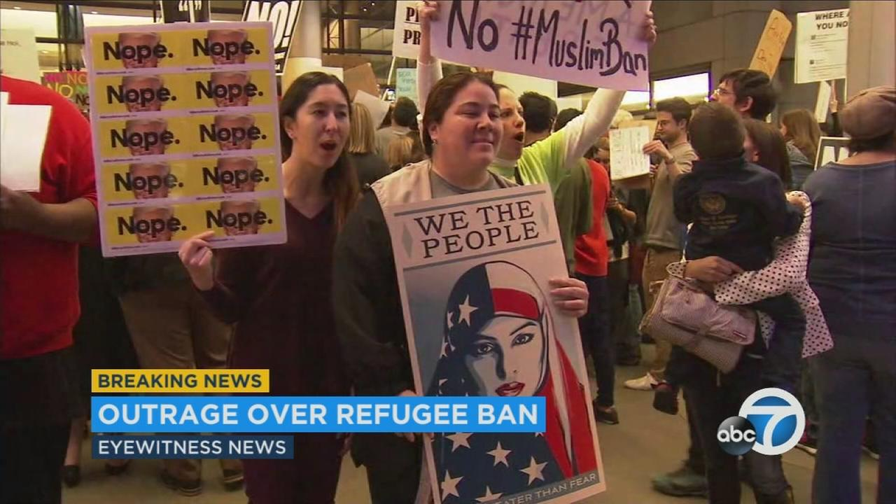 Protests were held at LAX over President Trumps travel ban from 7 Muslim countries.