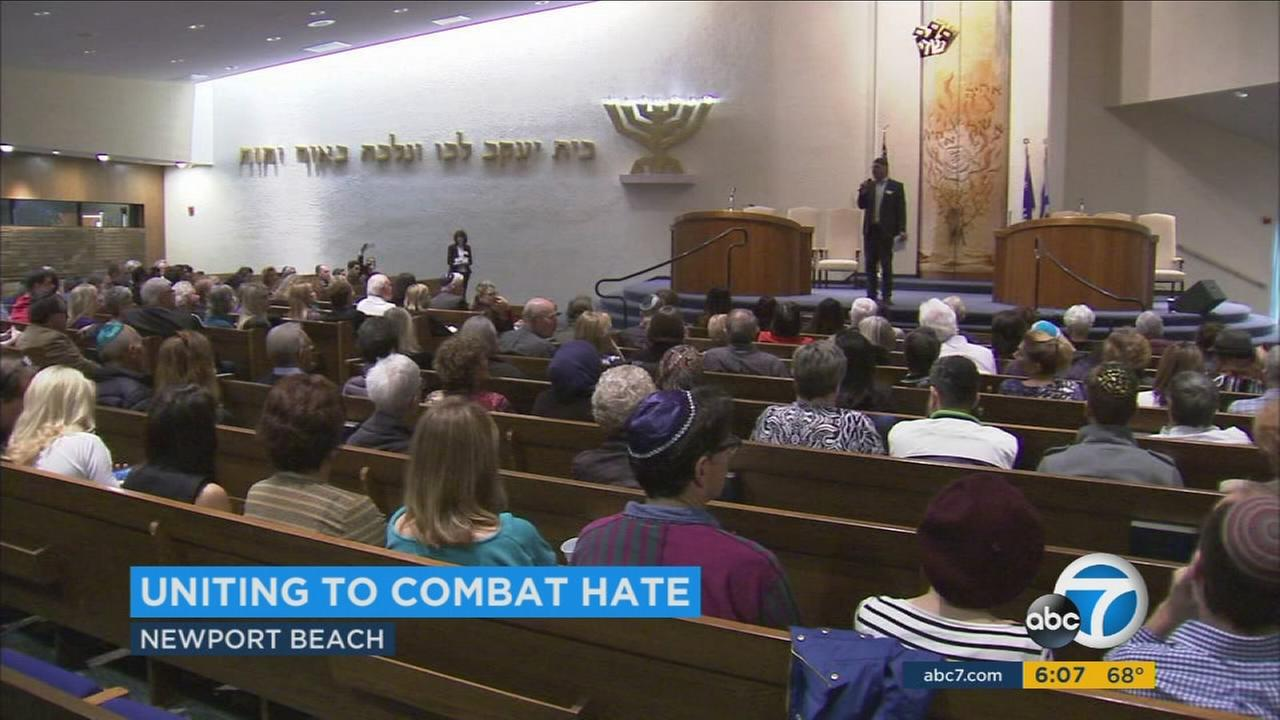 Members of Islamic, Jewish and Christian communities gathered in Newport Beach to discuss how to combat the rise in acts of hate on Sunday, Jan. 29, 2017.