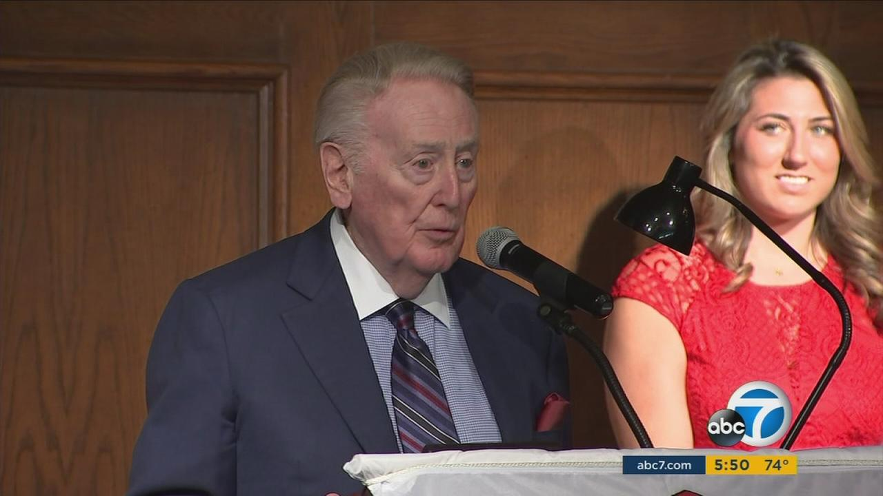 Vin Scully was honored with a lifetime achievement award from the Southern California Broadcasters Association on Monday, Jan. 30, 2017.