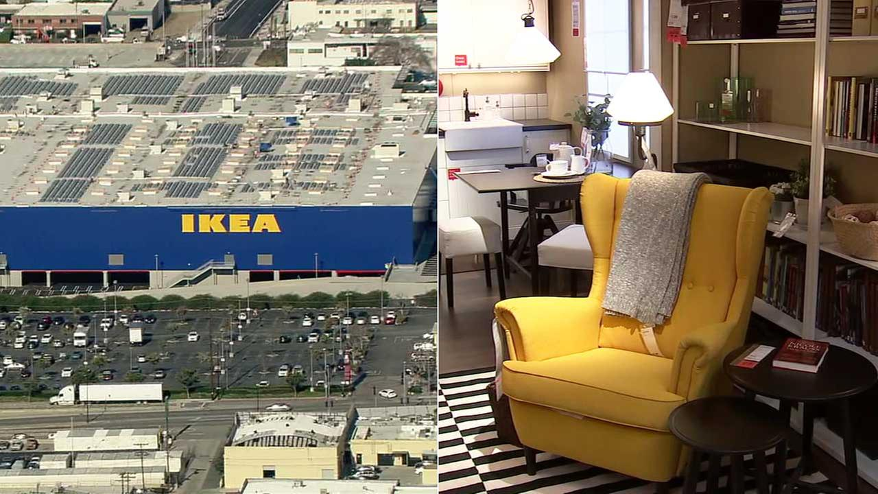 The exterior and interior of the new Ikea location in Burbank is seen in these side-by-side photos.