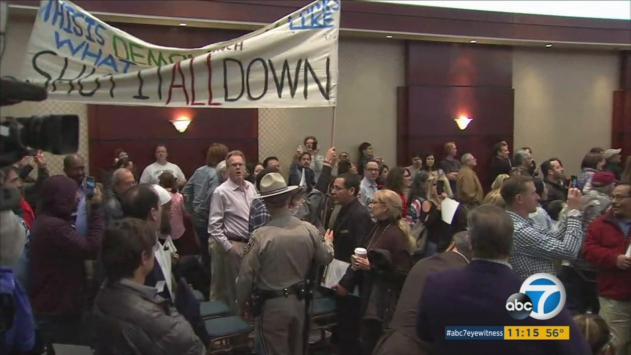 Porter Ranch residents packed a public hearing in Woodland Hills, demanding the closure of the Aliso Canyon gas storage facility on Wednesday, Feb. 1, 2017.