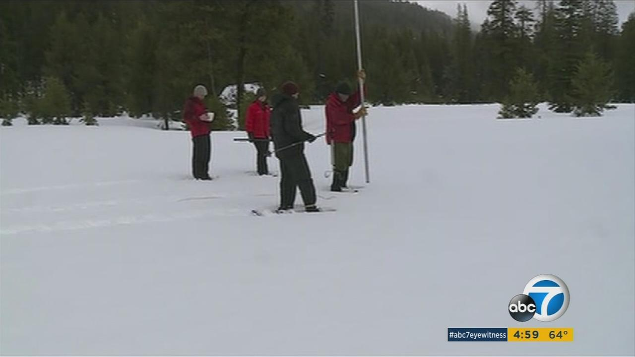 California water managers measure the Sierra Nevada snowpack.