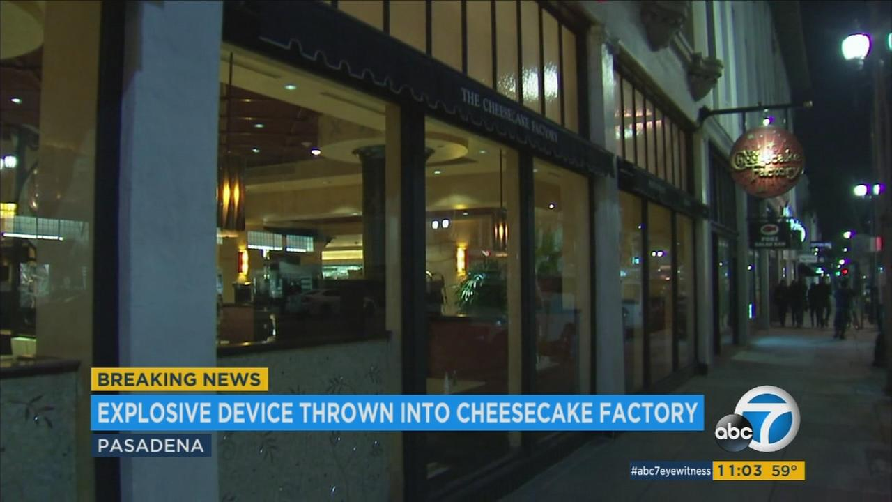 A man threw a homemade explosive device into the Cheesecake Factory in Pasadena, setting off an explosion that sent frightened diners fleeing but caused no serious injuries, officials said.