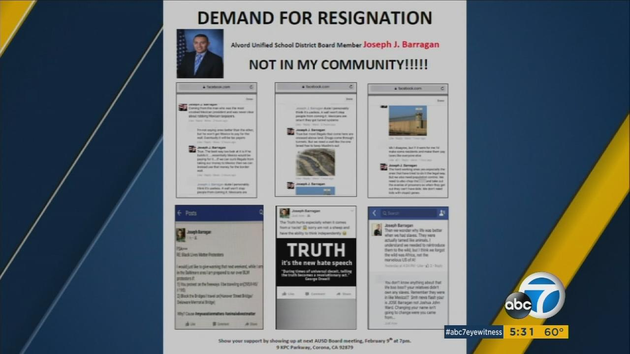 Parents were outraged after controversial posts appeared on Alvord Unified School District Board Member Joseph J. Barragans Facebook page.