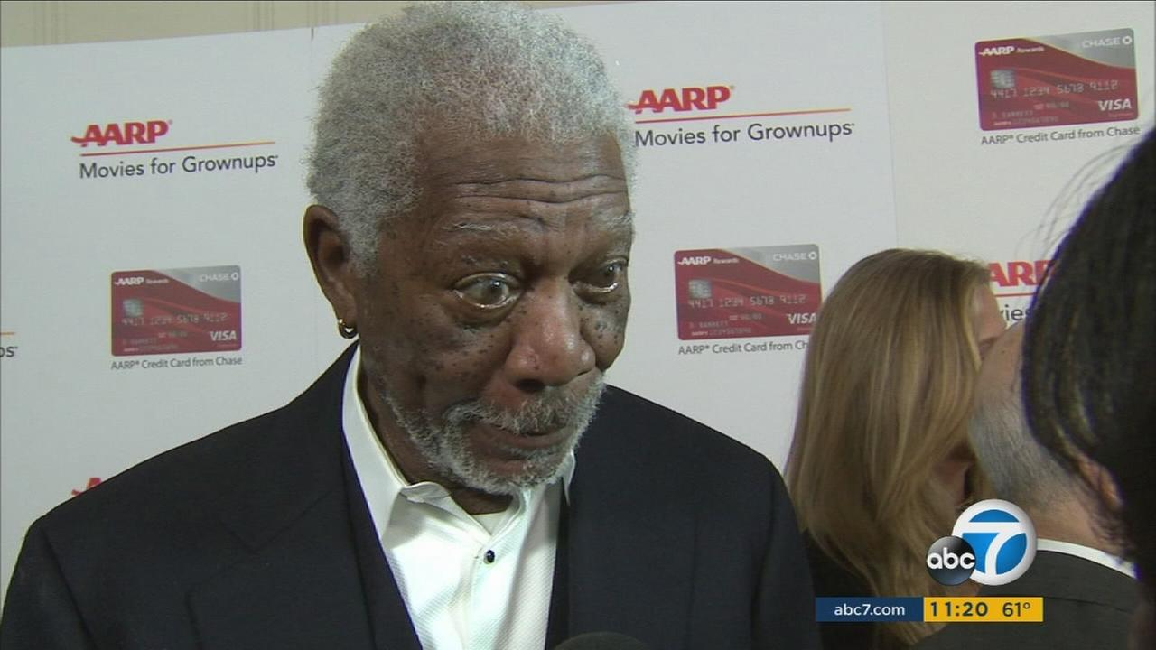 Morgan Freeman is shown during an interview before the AARP Movies for Grownups Awards.