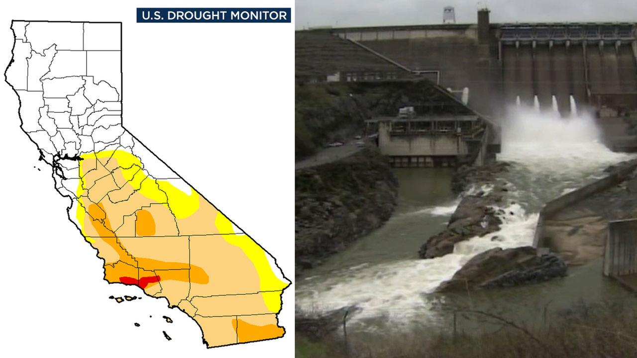 An image shows the current U.S. Drought Monitor map of California alongside an image of running water in the state.