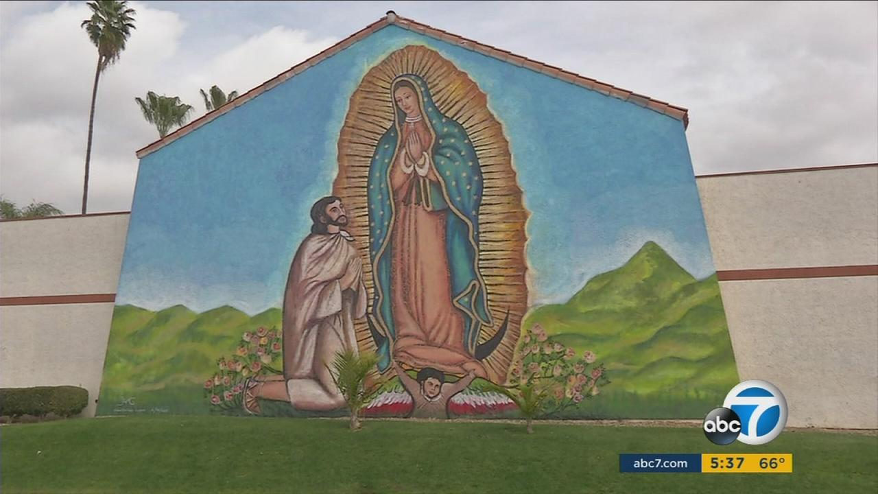 A large mural of the Virgin of Guadalupe on the side of a church by an award-winning Mexican artist is drawing a lot of attention in the Corona area.
