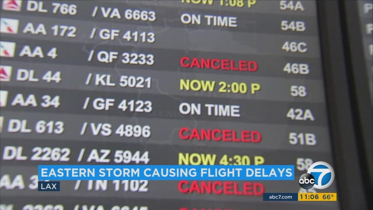 A massive storm along the East Coast caused delays and cancellations at the Los Angeles International Airport on Thursday, Feb. 9, 2017.