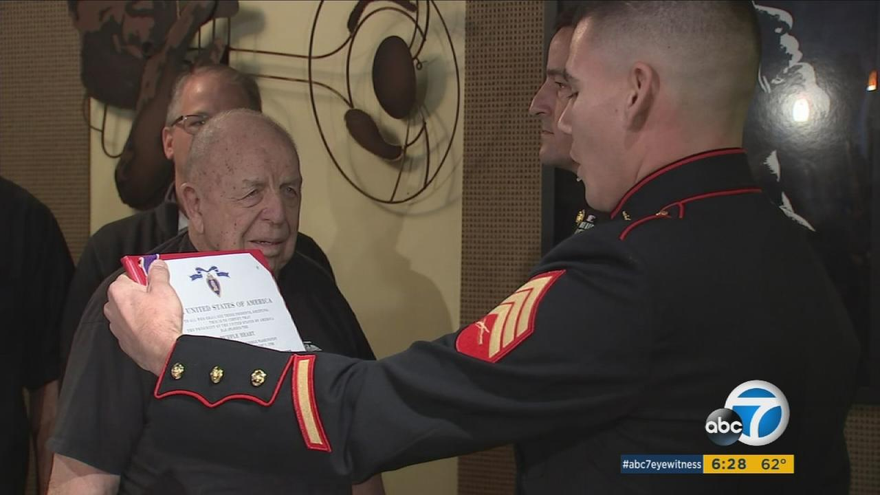 Lee Anderson, 91, receives a Purple Heart seven decades after serving in World War II.