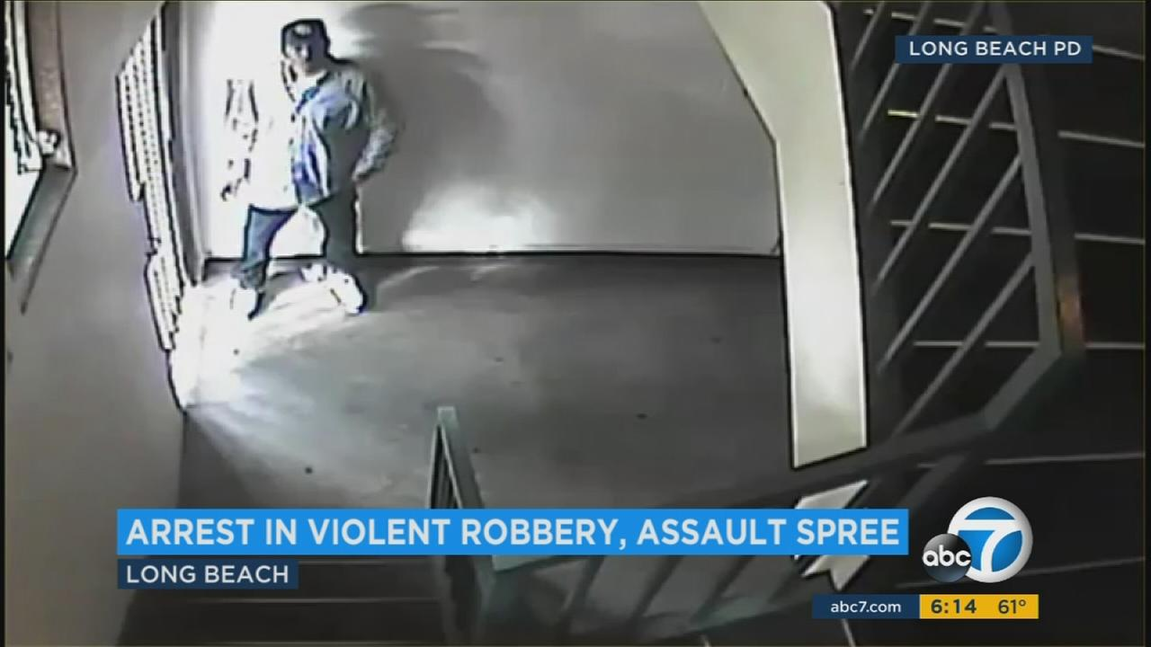 Surveillance video captures a suspect accused of attacking the elderly in Long Beach.