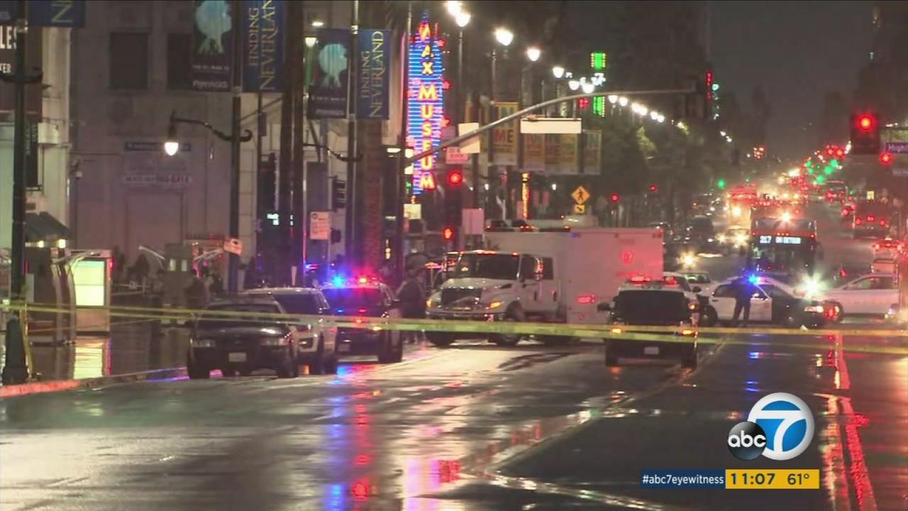 Patrol cars surround the scene of a bomb scare in the heart of Hollywood on Friday, Feb. 10, 2017.