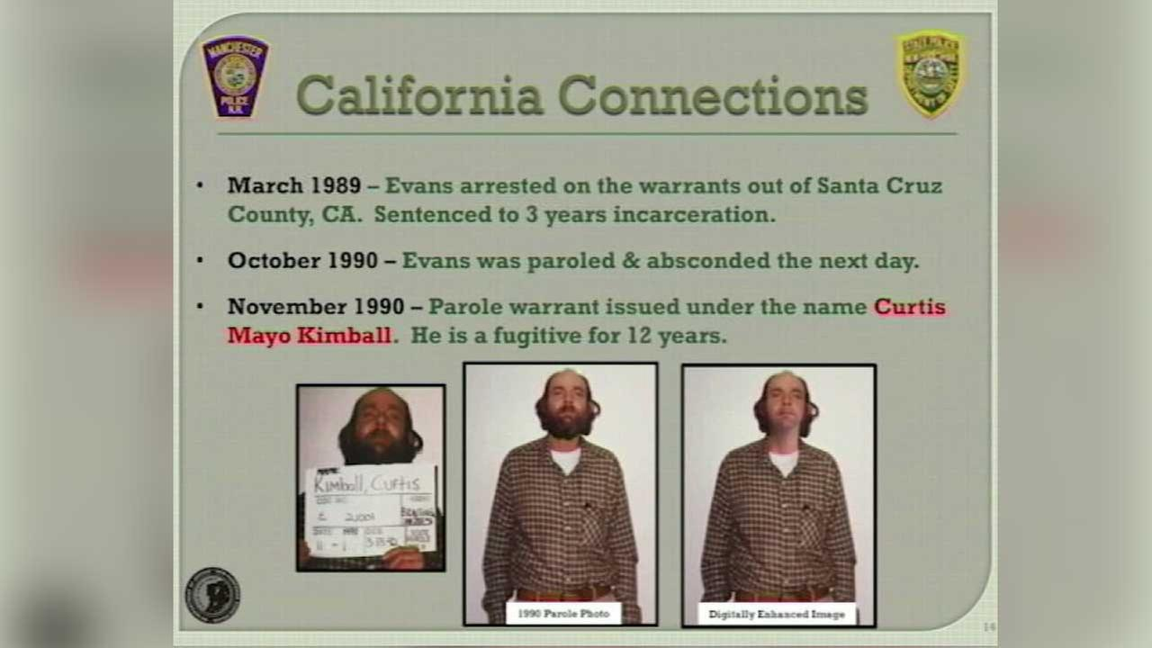 Bob Evans is seen in a poster that details his possible connections to California.