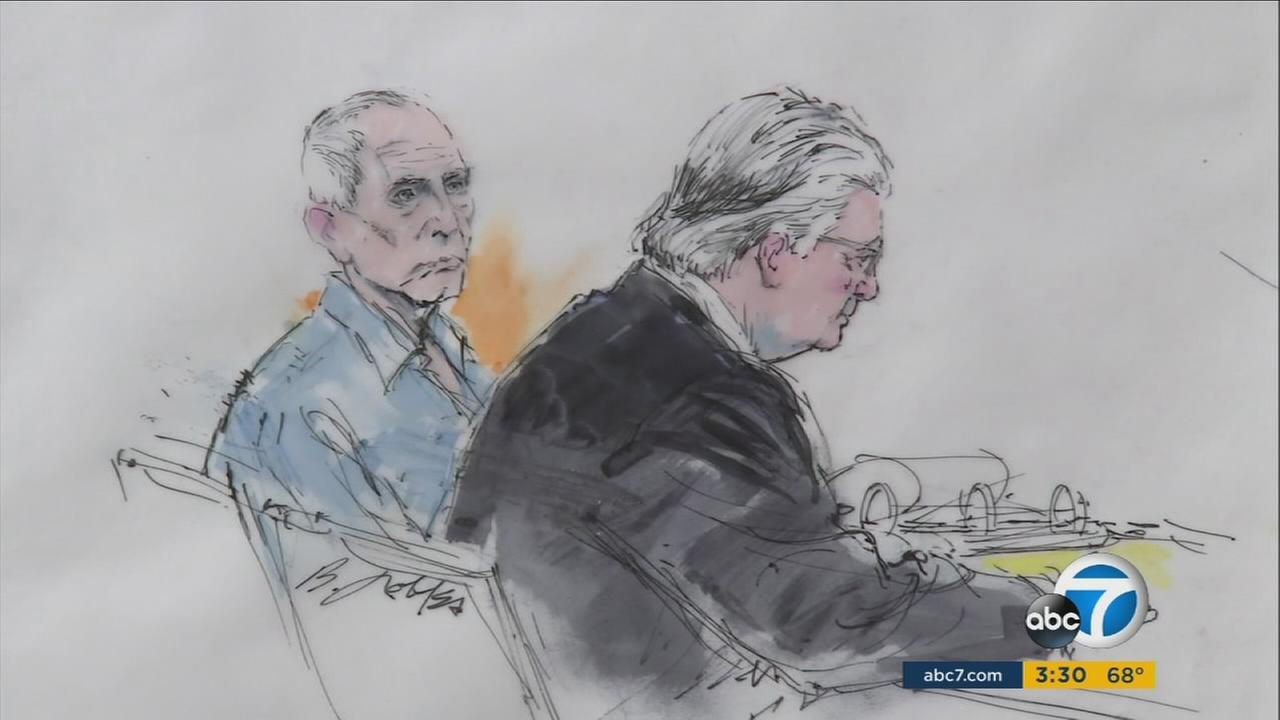 Real-estate heir Robert Durst, left, is seen in an undated courtroom sketch.